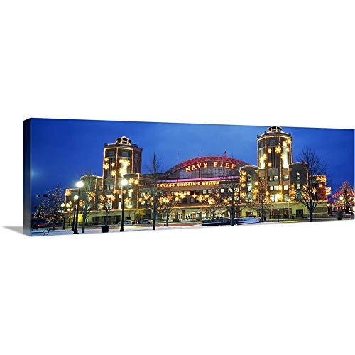 GREATBIGCANVAS Gallery-Wrapped Canvas Entitled Facade of a Building lit up at Dusk, Navy Pier, Chicago, Illinois by 60