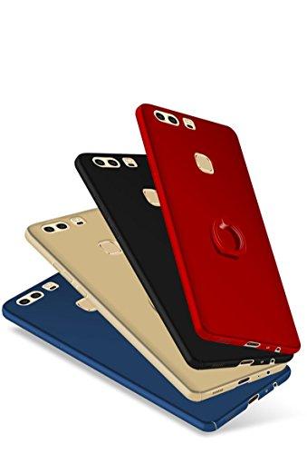Huawei P9 Funda , Huawei P9 Plus Funda , color sólido, estilo sencillo,Alta Calidad Ultra Slim Anti-Rasguño y Resistente Huellas Dactilares Totalmente Protectora Caso de Plástico Duro Cover Case+stand A
