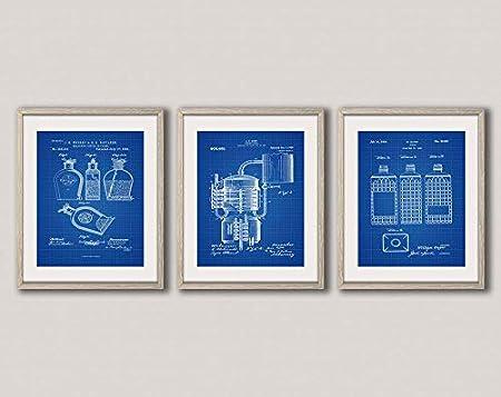 Juego de whisky con diseño de patente de whisky y botella de whisky, botella de whisky, cerveza, arte en la pared, regalo para el hogar WB254-256-258 (50 cm x 70 cm), diseño de dibujo