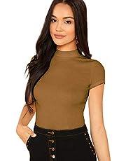 SheIn Women's Mock Neck Short Sleeve Slim Fit Knit T-Shirts