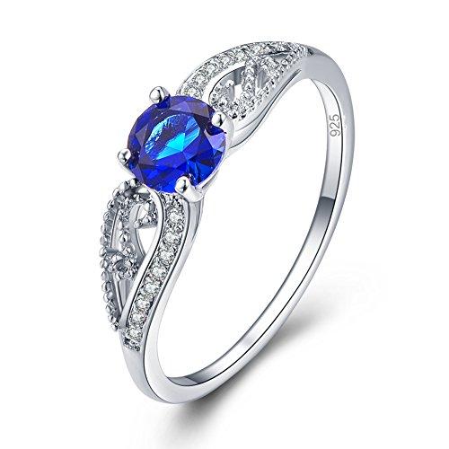 Veunora Graduation Gift White Gold Plated 5x5mm Round Cut Sapphire Quartz Ring for Women (Open Ring 5mm)