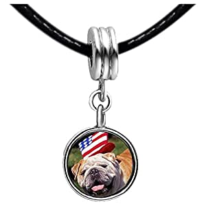 Chicforest Silver Plated little dog with Uncle Sam Hat Independence Day Photo White Crystal(April Birthstone) Flower dangle Charm Beads Bracelets European Bracelets Compatible
