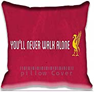 Decorative Liverpool Youll Never Walk Alone Throw Pillow Covers - Football Cotton Zippered Cushion Case with P