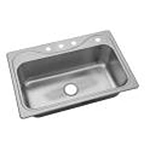Sterling 45987-4-NA Southhaven 33-inch by 22-inch Top-mount Single Bowl Kitchen Sink, Stainless Steel