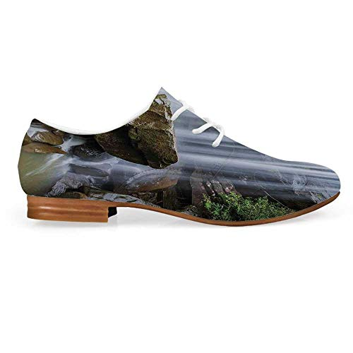 (Waterfall Decor Leather Lace up Oxfords Shoes,Waterfalls Surrounded by Rocks and Tropical Exotic Plant Artwork Bootie for Girls ladis Womens,US)