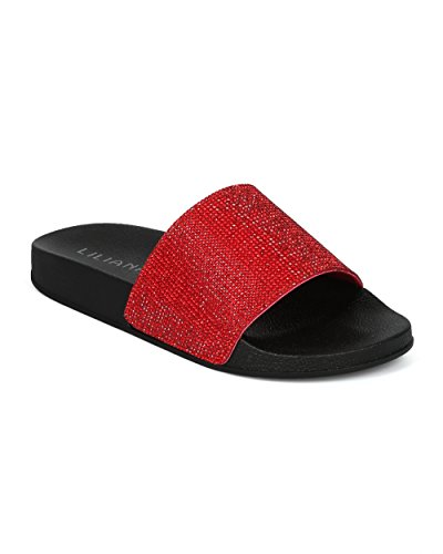 Alrisco Collection HG23 Liliana Embellished Footbed by Red Toe Mix Slide Rhinestine Media Women Open rRqvErwC