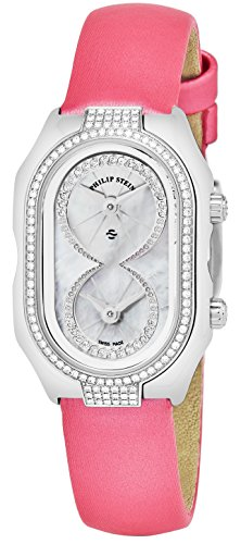 - Philip Stein Women 'Signature' Mother of Pearl Dial Pink Satin Strap Diamond Swiss Quartz Watch 14D-PIDW-IP