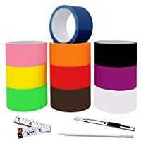 Gesoon Colored Duct Tape Craft Set - 10 Color Variety Pack Plus Pen/Utility Knife/Tape Measure - 12 Yards x 2 Inch Rolls - Rainbow Assorted Color