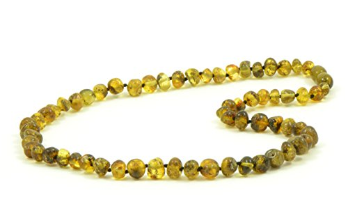 Baltic Amber Necklaces for Adults - 18-21.6 inches - AmberJewelry - Made from Authentic / Polished Baltic Amber Beads (21.6 inches (55 cm), Light (Green Amber Beads)