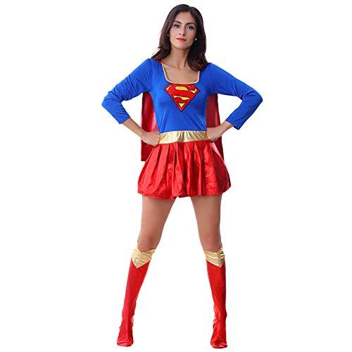 [Amurleopard Women's Sexy Supergirl Dress Costume] (Supergirl Costumes Plus Size)