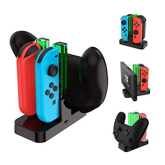 TALK WORKS Joy Con Charging Dock for Nintendo Switch – Controller and Joycons Charger Base Station Stand Holder – Remote…
