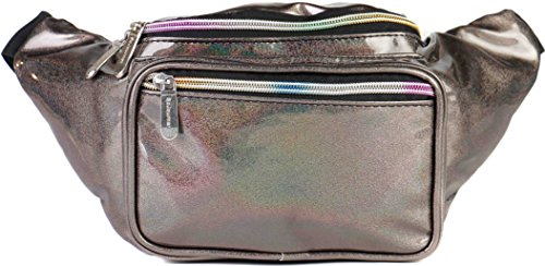 SoJourner Rave Holographic Fanny Pack - Packs for festival women, men | Cute Fashion Waist Bag Belt Bags (Copper Glitter) -