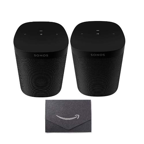 Sonos One SL - Microphone-Free Smart Speaker - Black (2) with $10 Gift Card