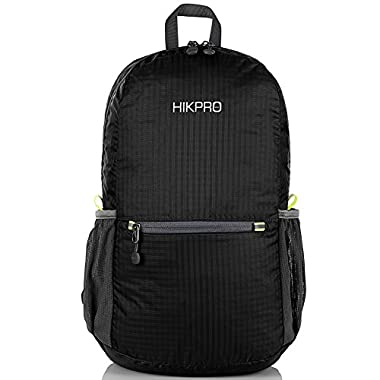 HIKPRO Unisex Ultralight Handy Packable Backpack, Black, 6.5 Oz