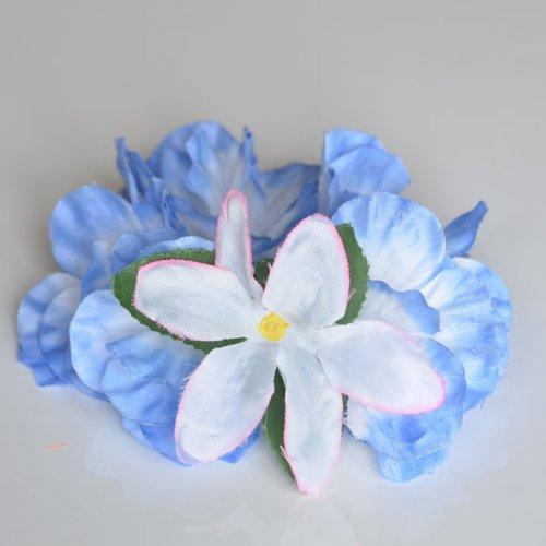 Premium Hawaiian Wrist/Anklet- Paradise Petunia w/ Orchids in Caribbean Blue