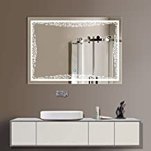 DECORAPORT 32 Inch * 24 Inch Horizontal LED Wall Mounted Lighted Vanity Bathroom Silvered Illuminated Mirror with Touch Button (B-N011)