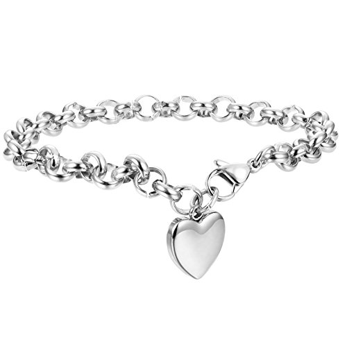 FIBO STEEL 1 Pcs Womens Stainless Steel Charm Bracelets for Girls Chain Link Bracelets,7.5 inches -