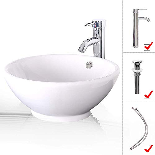 - LUCKWIND Bathroom Vessel Sink Ceramic - White Porcelain Lavatory Counter Sink Basin Bowl Chrome Brass Faucet Pop Up Drain Combo Single Hole Above Vanity Top Round Overflow Rimming (Round Overflow)