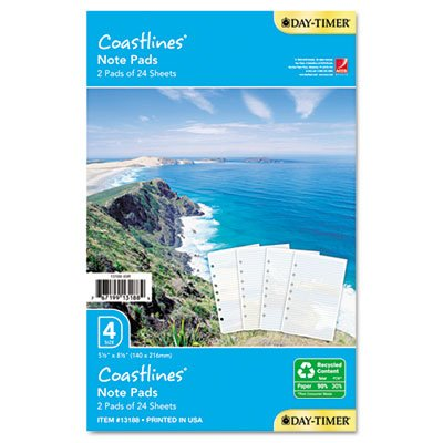 Day-Timer® - Coastlines Notepads w/Four Designs, 5-1/2 x 8-1/2 - Sold As 1 Each - Enjoy a visual vacation with Coastlines® page designs.