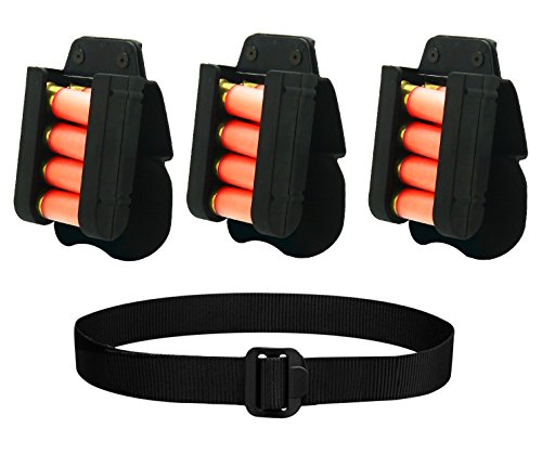 Ultimate Arms Gear Black 3 Pack of 4-Round Shotgun Ammo Shot Shell Cartridge Carrier Competition Tension Holder Holster Belt Paddle Fits 12 GA Gauge + BDU Belt, Mossberg 500/590/835/Maverick 88 (Buckle Mossberg Belt)