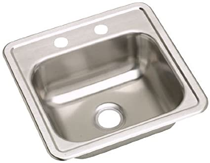 Elkay D117210 22 Gauge Stainless Steel Single Bowl Top Mount Bar/Prep Sink  Without Hole