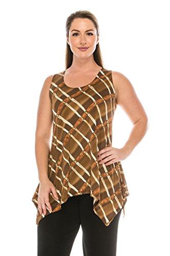 (Jostar Women's HIT Side Drop Tank Tunic Print X-Large Brown)
