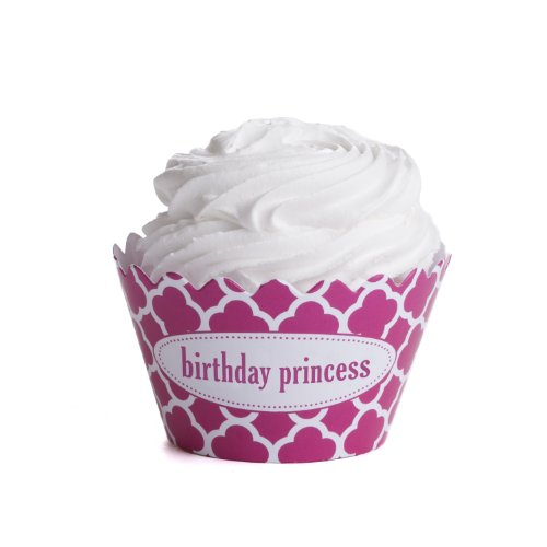 Dress My Cupcake Personalized Message Cupcake Wrappers, Spanish Tile, Quatrefoil, Birthday Princess, Set of 50 (Spanish Tile Cupcake Wrapper)