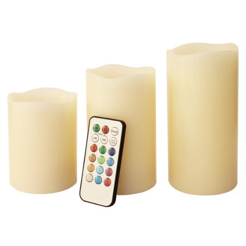 Mooncandles - Vanilla Scented Wax Candles With Colour Changing Remote Control (4'', 5'', 6'' inch candles)