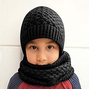 Epeius Kids Girls/Boys Winter Knitted Infinity Scarf Polar Fleece Neck Warmer