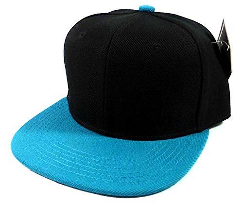 Kids Blank Snapback Hats Fashion - Black | Turquoise Blue