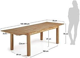 Kave Home Mesa Extensible Isbel 120 (200) x 75 cm: Amazon.es: Hogar