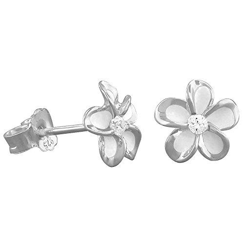 (Sterling Silver 7mm Plumeria Stud Earrings)