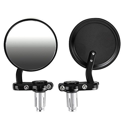 CALAP-STORE - Paire Retroviseur Universel Moto forme ronde 2 mode fixations bande de roulement 8 mm ou guidon diametre 7/8