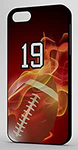 Flaming Football Sports Fan Player Number 19 Black Plastic Decorative iphone 4s Case