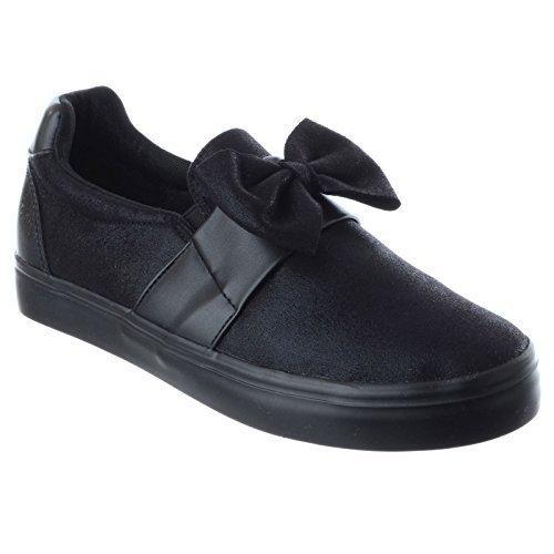 Pumps schwarz Bügel Schleife ohne schimmer Skater NEU niedriger Sportschuhe flach Absatz Sneakers Schuh Damen Größe 4qwCqg