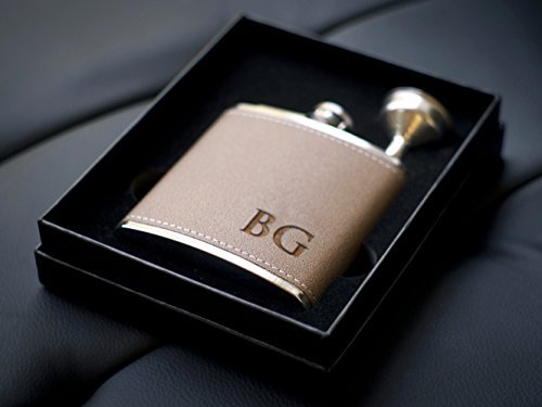 Custom Engraved Leather Flask 2pc Gift Set - Personalized with Any (Mini Liquor Gift Set)