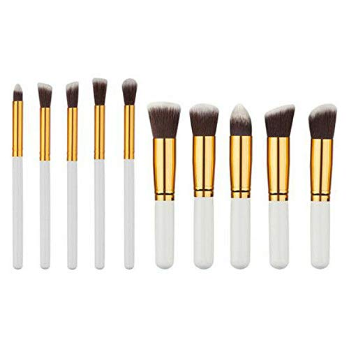 10pcs Makeup Brushes Set Kabuki Foundation Powder Eyeliner Eyeshadow Blush Brush (Color - 10pcs white gold brush#21)