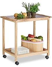 Relaxdays Wózek kuchenny na kółkach, drewniany wózek do serwowania ze szklanym blatem, 2 poziomy, wózek na kółkach, wys. x szer. x gł.: 62 x 66 x 38 cm, naturalny