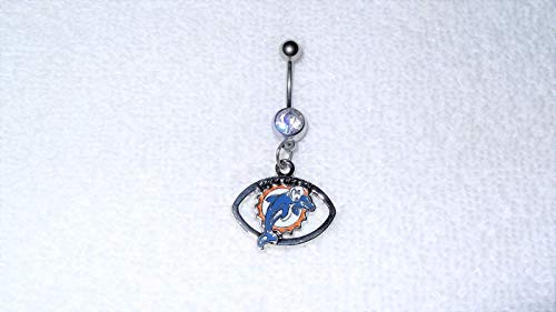 Miami Dolphins Team Football Charm Belly Navel Ring Body Jewelry Piercing #IS-421 ()
