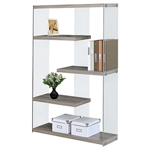Glass Tempered Bookshelf (Monarch Specialties I 3052 Dark Taupe with Tempered Glass Bookcase, 60