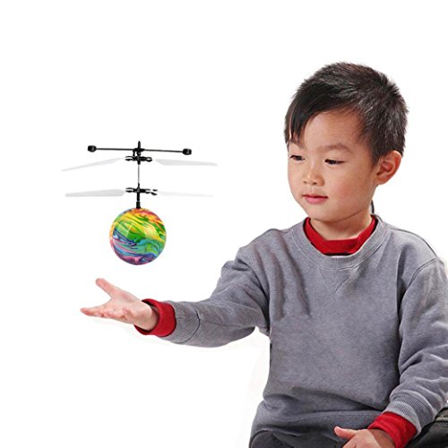 Leegor Leegor Mini Induction Flying Ball Toy, Suspension RC Drone Helicopter Ball Built-in Shining LED Lighting UFO Colorful Aircraft Kids Toy Christmas Gift (A) Operation Christmas Child Craft Ideas