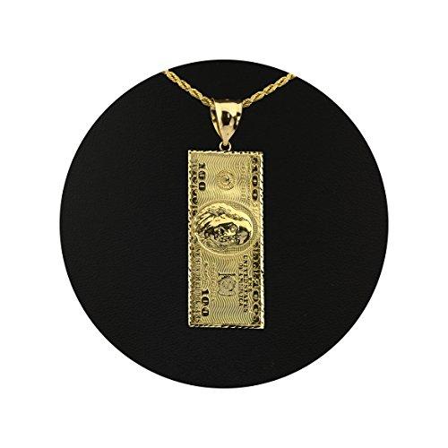 Real gold pendant amazon lovebling 10k yellow gold hundred dollar bill benjamin franklin back to back charm pendant 200 x 066 aloadofball Choice Image