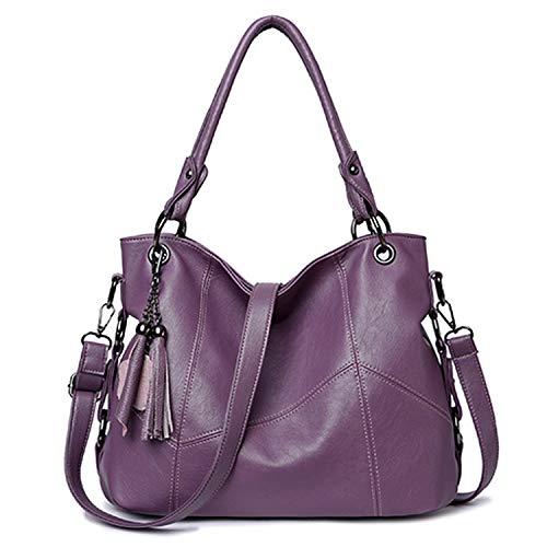 Women Leather Handbags Designer Bag Women Bolsa Luxury Women Messenger Bag Large Tote Shoulder Bag,Purple