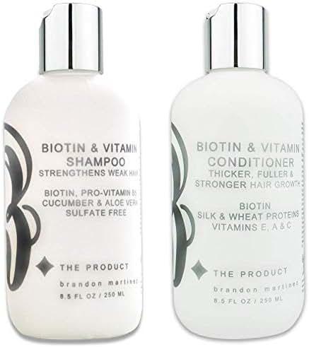 Biotin Vitamin Hair Growth Shampoo & Conditioner SET-(High Potency) Biotin Shampoo + Conditioner Set For Fastest Hair Growth, Vitamins E, A, And C B THE PRODUCT (8.5oz)