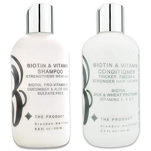 Biotin Vitamin Hair Growth Shampoo & Conditioner SET-(High Potency) Biotin Shampoo + Conditioner Set For Fastest Hair Growth, Vitamins E, A, And C B THE PRODUCT (8.5oz) (Best Shampoo For African American Hair Growth)