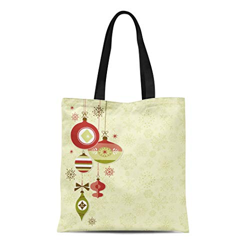 Tinmun Canvas Tote Bag Reusable Holiday Retro Christmas Ornaments Vintage Winter Xmas Elegant Label Shoulder Grocery Shoulder Bag Handbag Printed