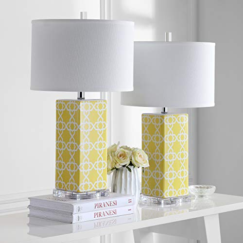Yellow Ceramic Table Lamp - Safavieh Lighting Collection Quatrefoil Yellow 27-inch Table Lamp (Set of 2)