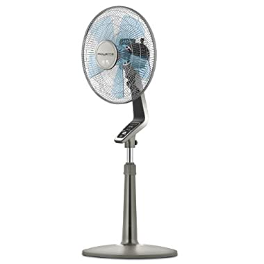 Rowenta VU5551 Turbo Silence Oscillating 16-Inch Stand Fan Powerful and Quiet with Remote Control, 4-Speed, Silver