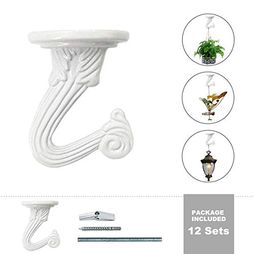 Plant Ceiling Hooks,UDGTEE Pack of 12 Complete Sets Heavy Duty Metal Ceiling Hooks,Swag Hooks with Steel Screws/Bolts and Toggle Wings,White Enamel Finish (HE-ZYO0026) ()