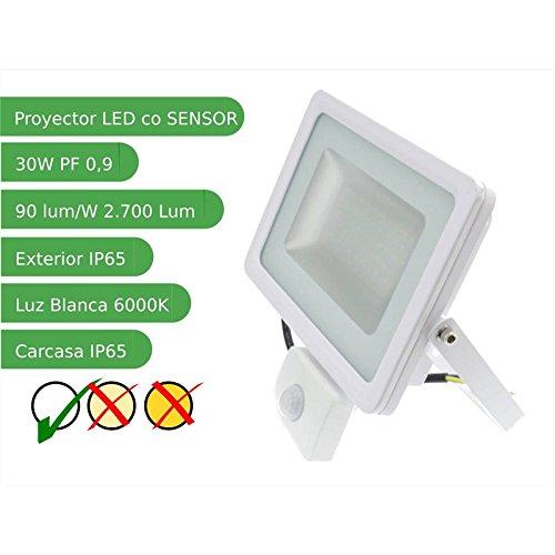 Jandei - Proyector led sensor 30W Slim SMD5730 blanco 6000ºK ...